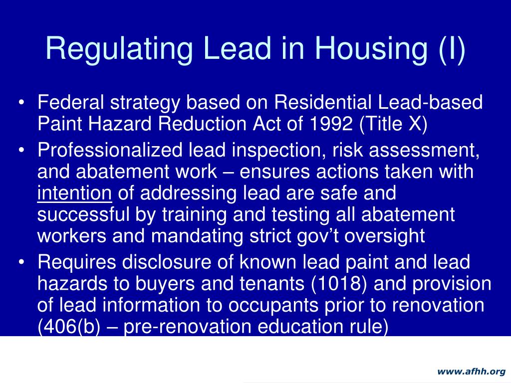 Regulating Lead in Housing (I)