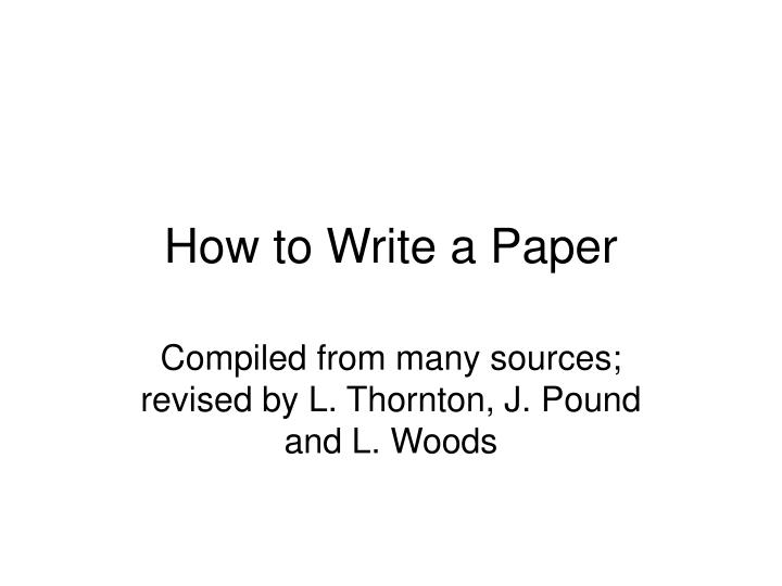 how to write a paper n.