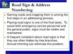road sign address numbering