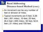 rural addressing distance based method cont