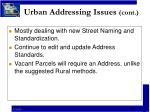urban addressing issues cont