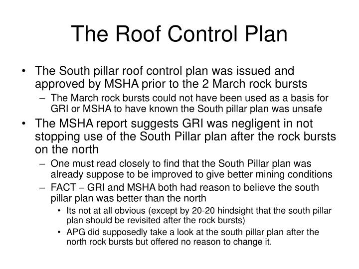 The Roof Control Plan