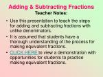 adding subtracting fractions teacher notes