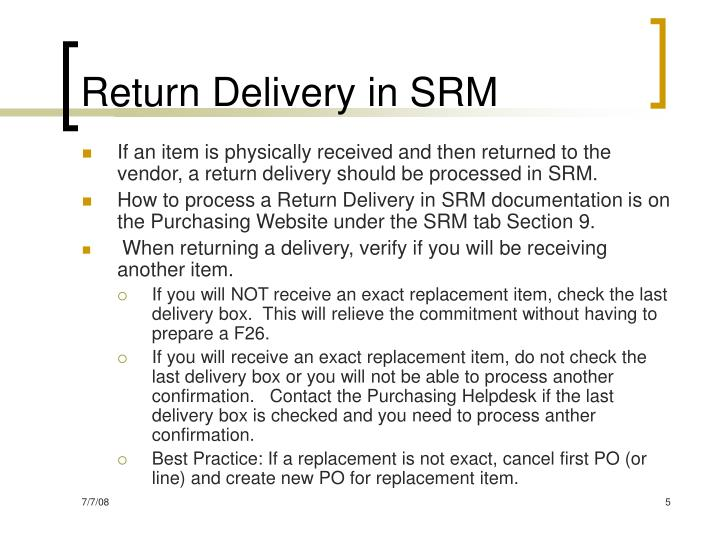 Return Delivery in SRM