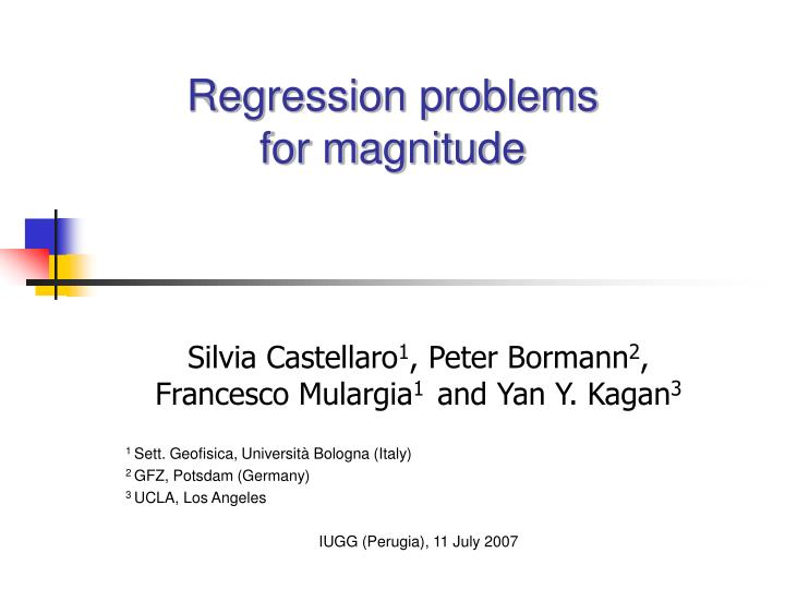 regression problems for magnitude n.