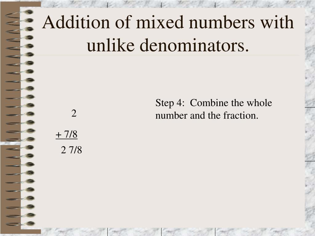 Addition of mixed numbers with