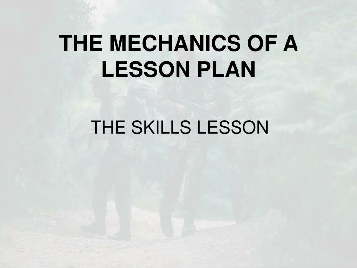 the mechanics of a lesson plan n.