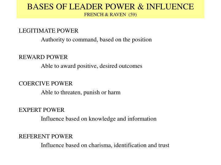 bases of power The bases of social power john r p french, jr, and bertram raven  the processes of power are pervasive, complex, and often disguised in our.