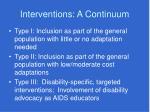 interventions a continuum