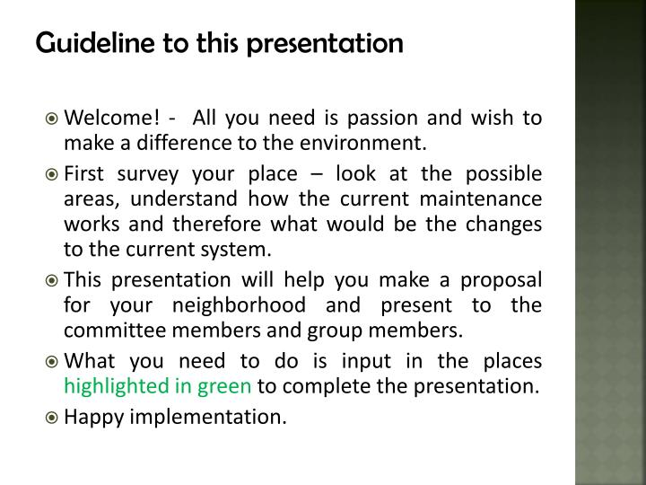 guideline to this presentation n.