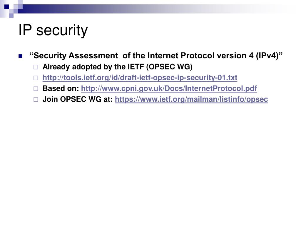 PPT - Ongoing work at the IETF on TCP and IP security