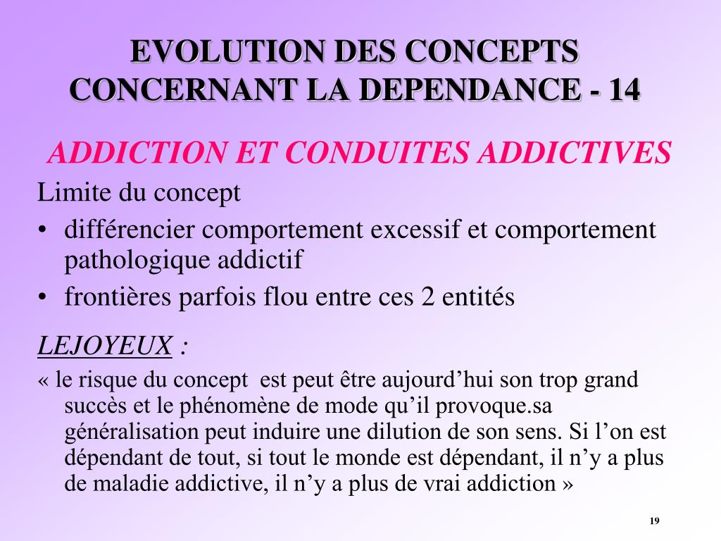 EVOLUTION DES CONCEPTS CONCERNANT LA DEPENDANCE - 14