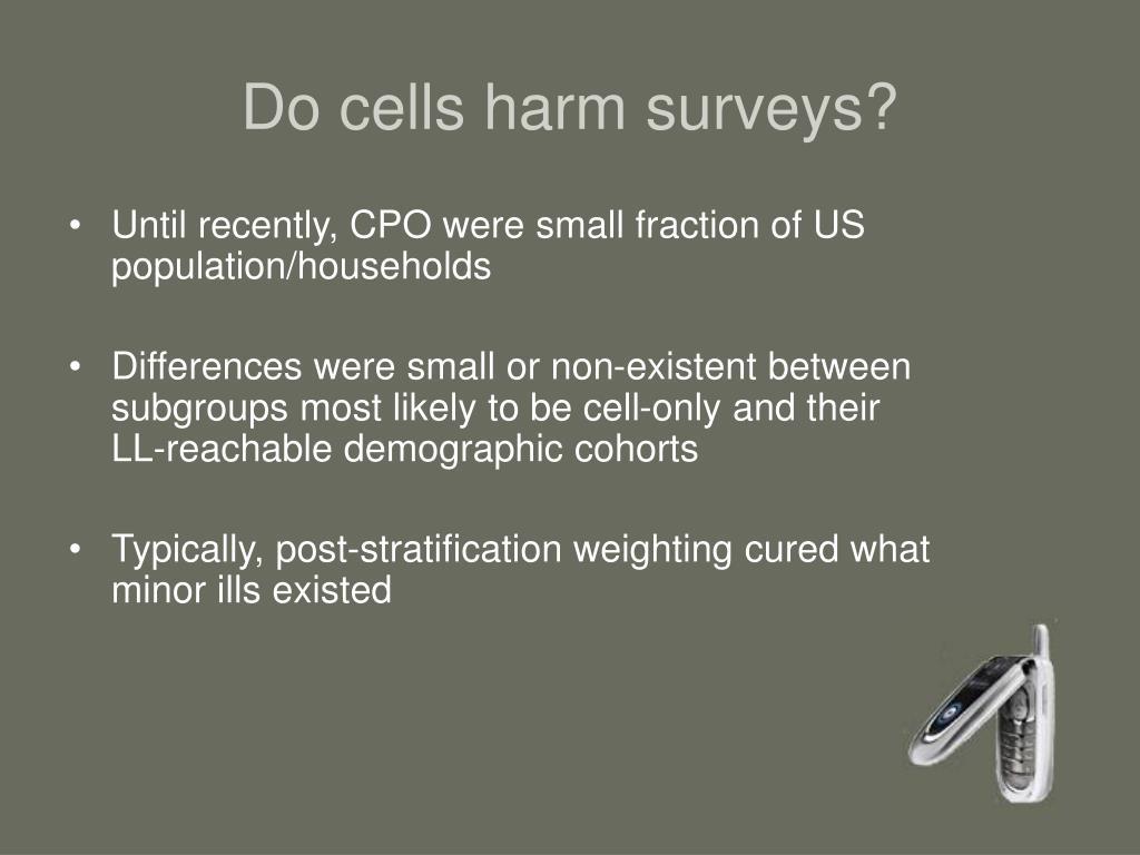 Do cells harm surveys?