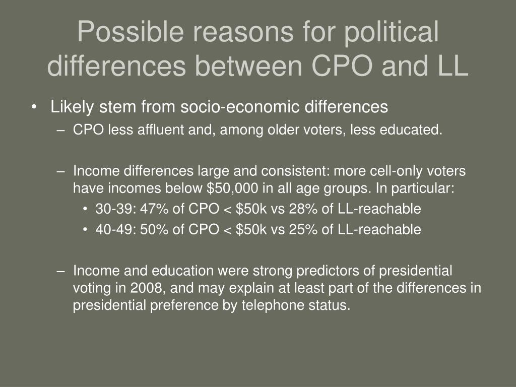 Possible reasons for political differences between CPO and LL