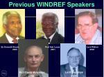 previous windref speakers