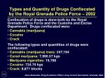 types and quantity of drugs confiscated by the royal grenada police force 2002