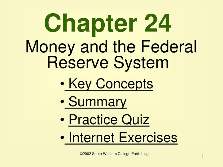chapter 24 money and the federal reserve system n.