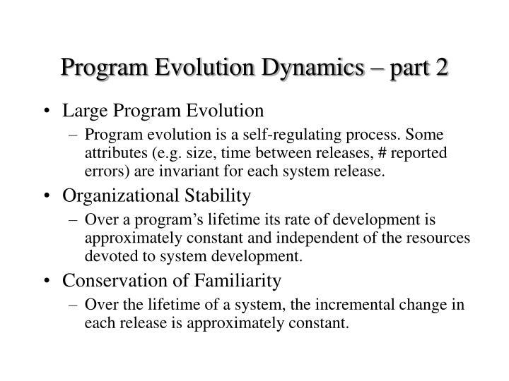 Program Evolution Dynamics – part 2