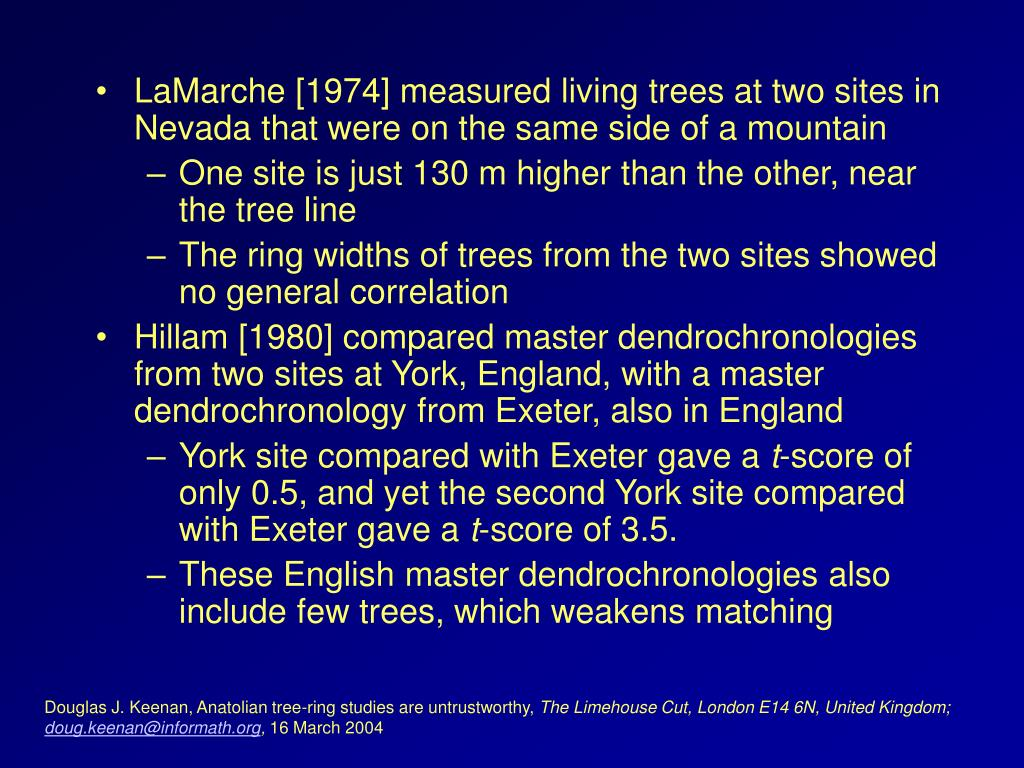 LaMarche [1974] measured living trees at two sites in Nevada that were on the same side of a mountain