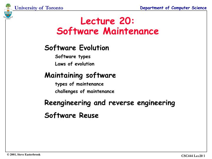 PPT - Lecture 20: Software Maintenance PowerPoint