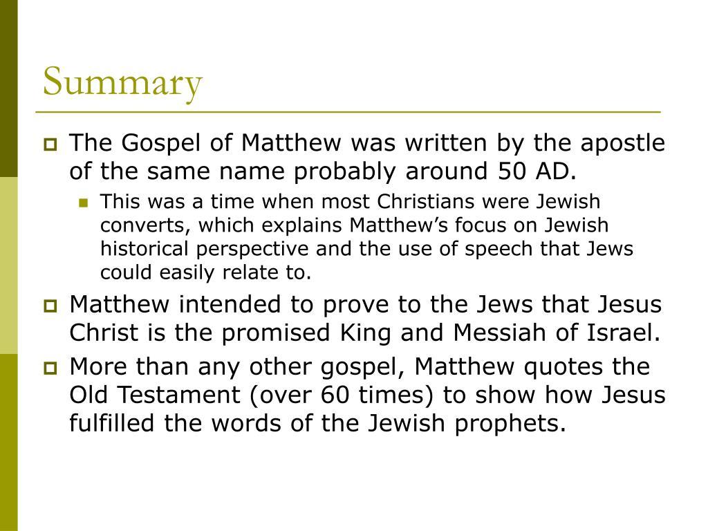 PPT - A Journey Through the Gospel of Matthew PowerPoint