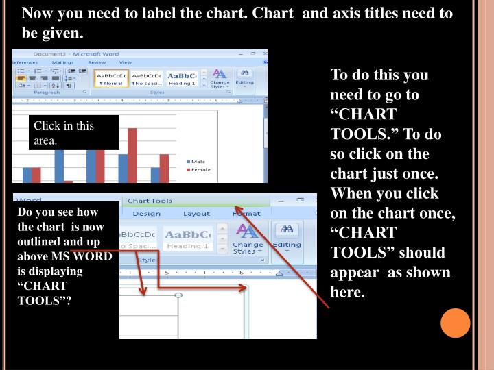 Now you need to label the chart. Chart  and axis titles need to be given.