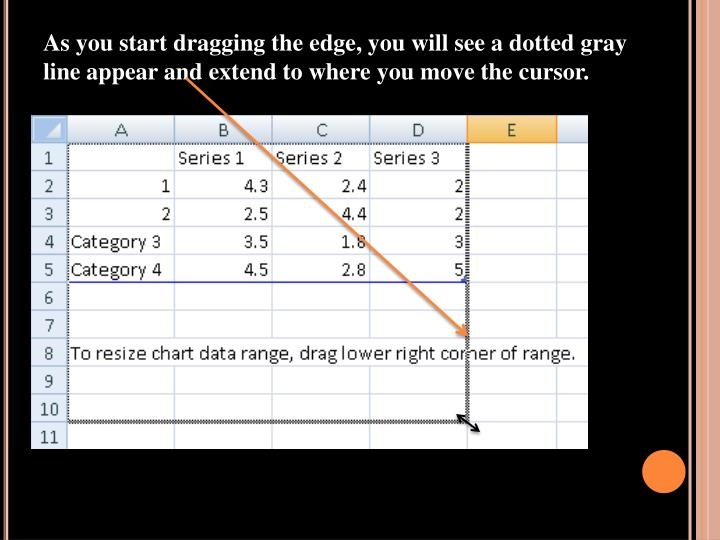As you start dragging the edge, you will see a dotted gray line appear and extend to where you move the cursor.