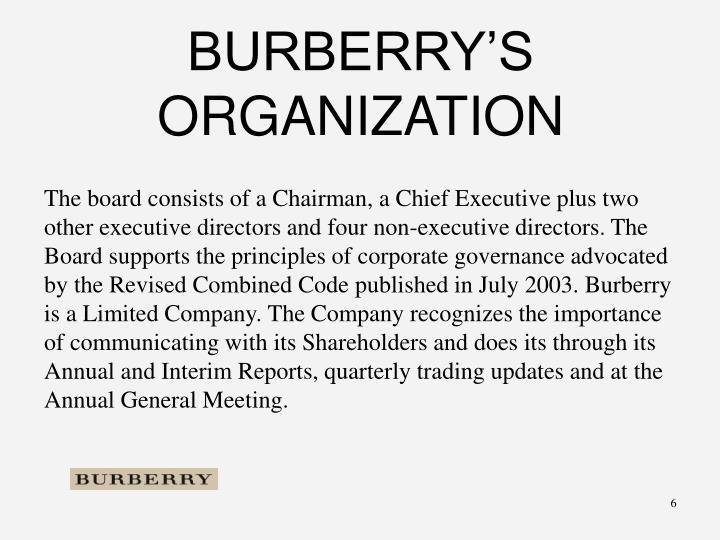 BURBERRY'S ORGANIZATION