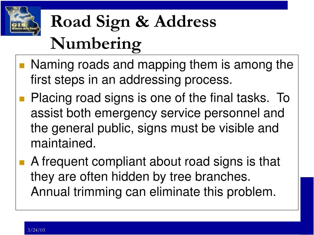 Road Sign & Address