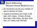 rural addressing distance based method cont