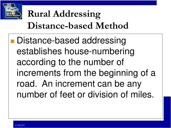 Rural addressing distance based method