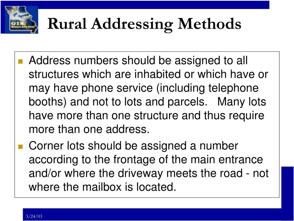 Rural Addressing Methods