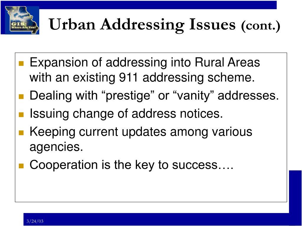 Urban Addressing Issues