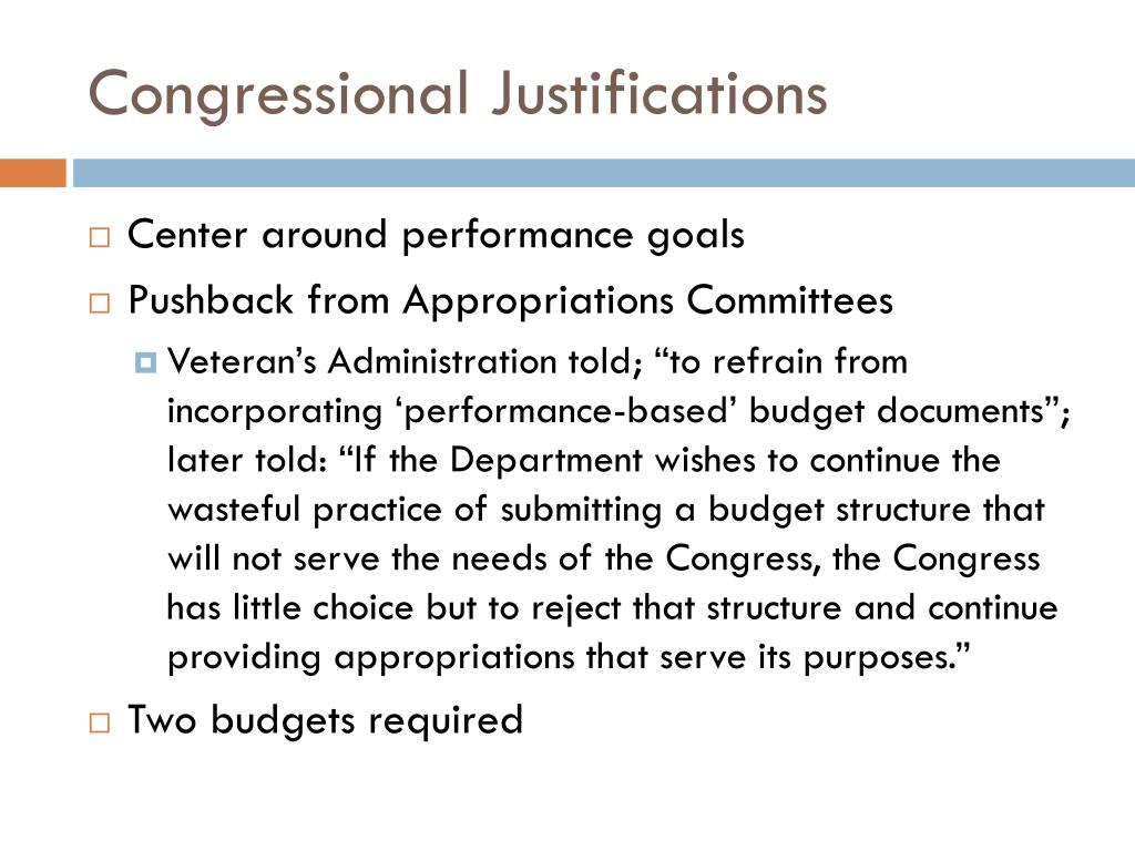 Congressional Justifications