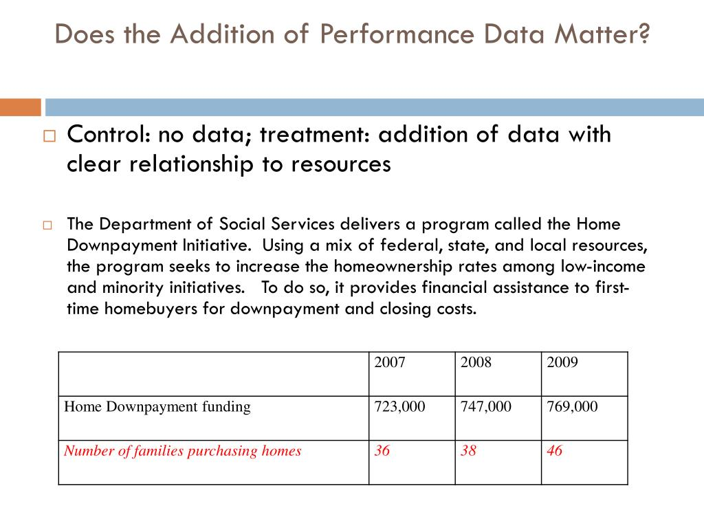 Does the Addition of Performance Data Matter?