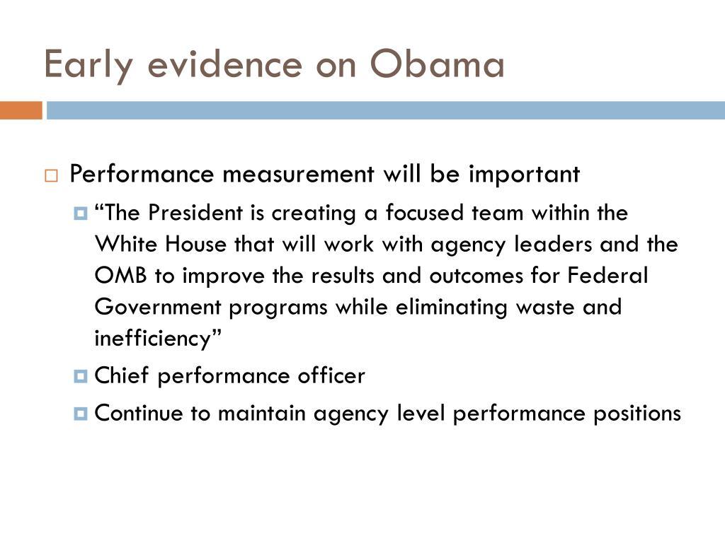 Early evidence on Obama