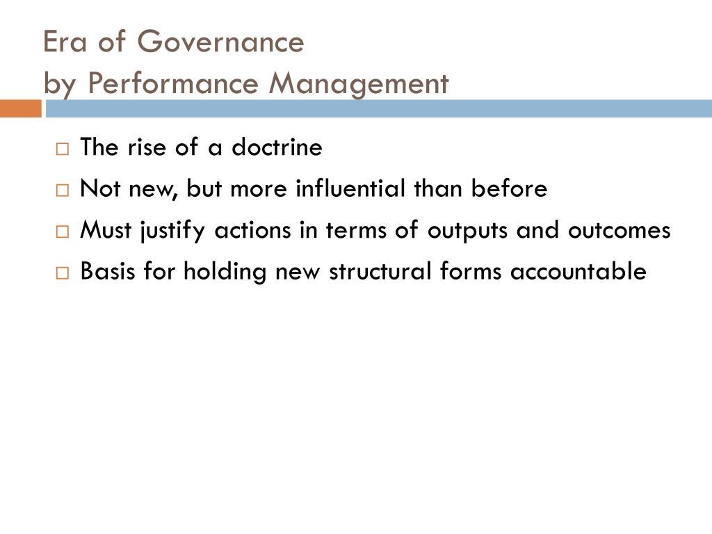 Era of Governance