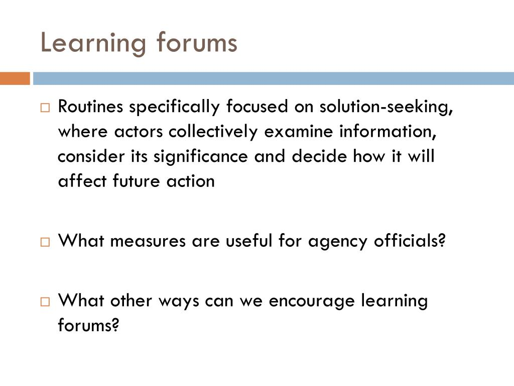 Learning forums