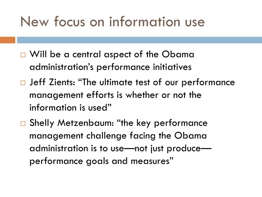 New focus on information use