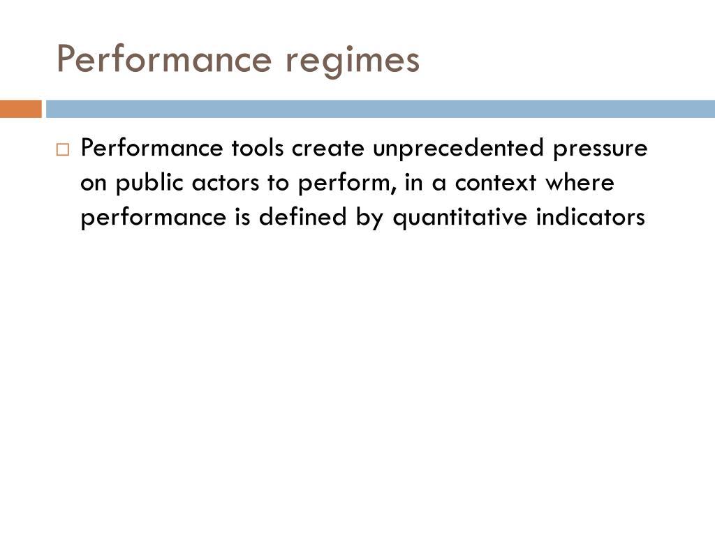 Performance regimes