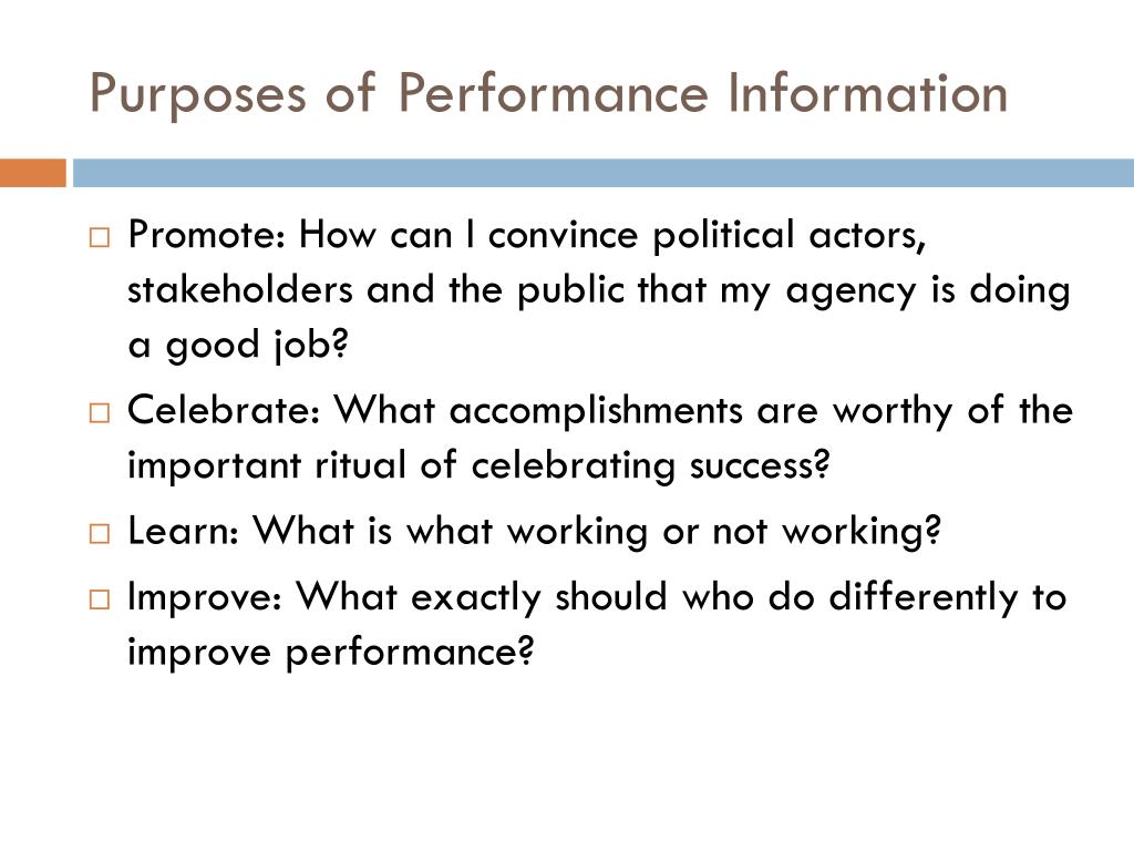 Purposes of Performance Information