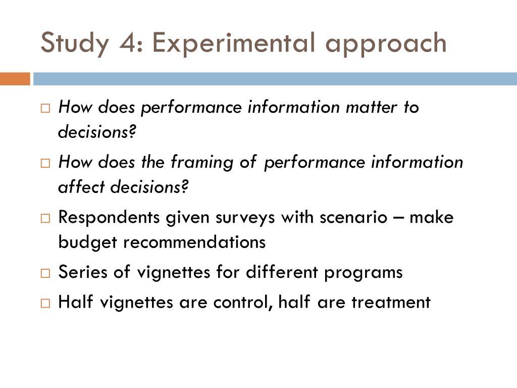 Study 4: Experimental approach