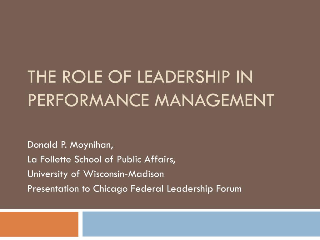 the role of leadership in performance management l.