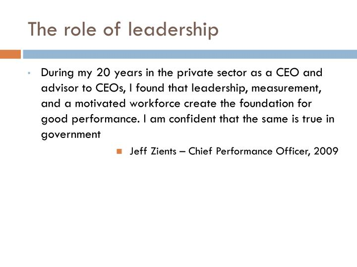 The role of leadership