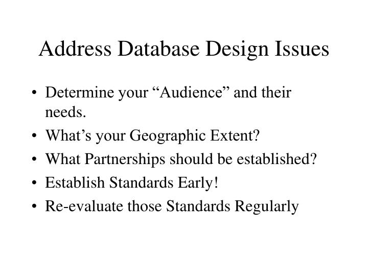 Address Database Design Issues
