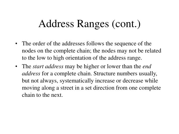 Address Ranges (cont.)