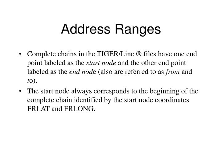 Address Ranges