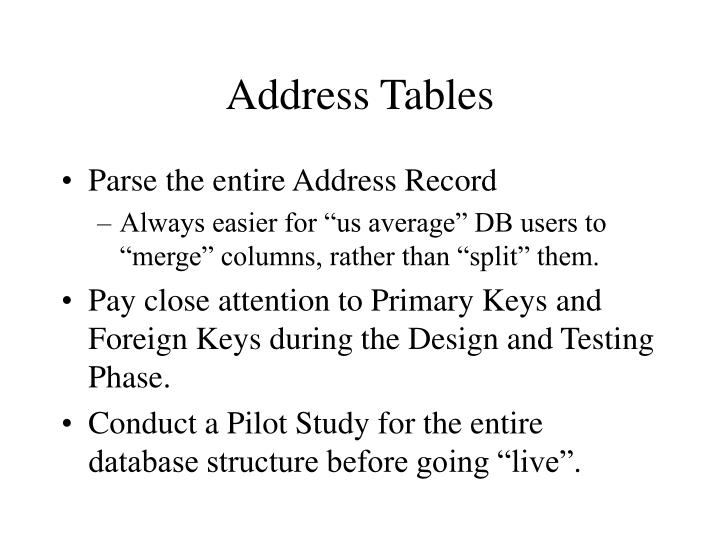 Address Tables