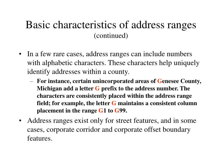 Basic characteristics of address ranges