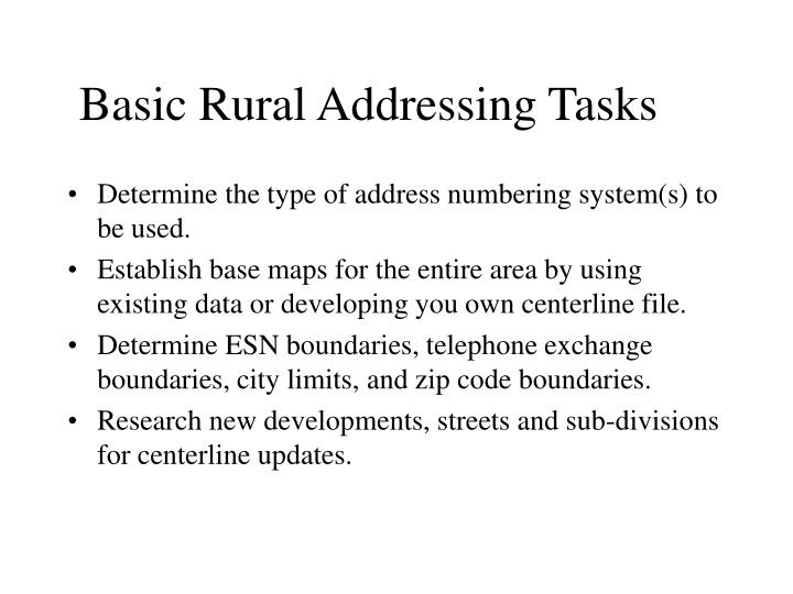 Basic Rural Addressing Tasks